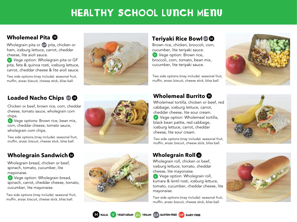 Healthy School Lunches, Kids Menu